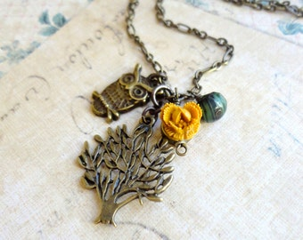 Owl Necklace. Owl and Tree Necklace. Owl Mustard Flower Necklace. Owl and Flower Necklace. Woodland Necklace.