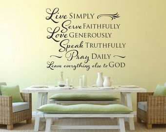 Live Simply Love Generously inspirational wall decal vinyl wall decal