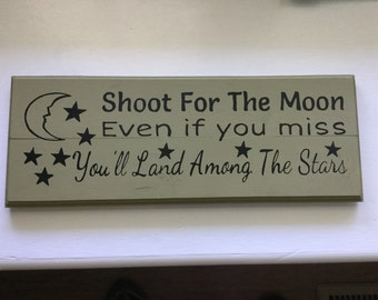 Wall art // customizable // made to order // wood art // Shoot For the Moon
