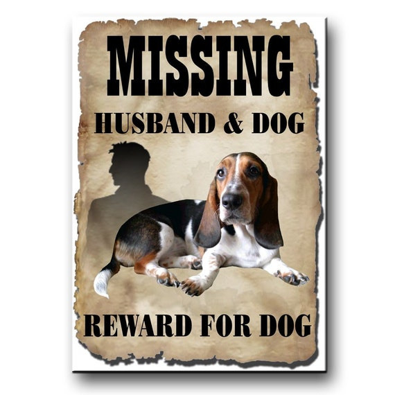 Basset Hound Husband Missing Reward Fridge Magnet No 2