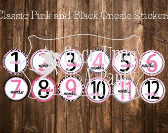 Pink and black onesie stickers