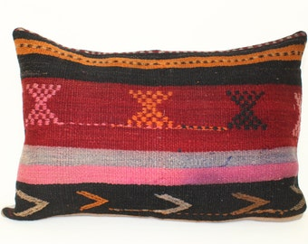 KILIM PILLOW- hand woven vintage, Turkish Kilim Pillow- 100% Natural Wool- 16 x 24