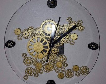 """Clock Steampunk serious acrylic 10 """"(about 25.5 cm) in diameter"""