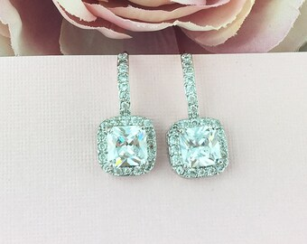 Bridesmaids Earrings, Princess Square CZ Earrings, Bridesmaid Jewelry Gift, Bridesmaids Dangle Earrings, Bridal Party Jewelry 470291089