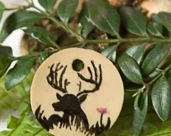 romantic pendant / deer and flower / hand painted / one-off / country house style