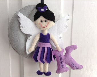 Fairy hanging by the moon, personalized hanging fairy, fairy in felt