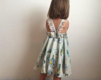 Blue birdie dress