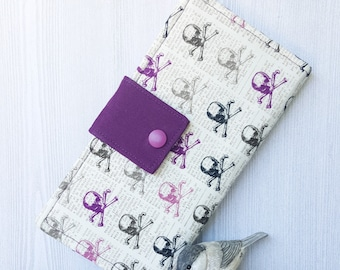 Womens wallet, purple skull print, slim bifold wallet, handmade wallet, fabric clutch wallet, credit card checkbook wallet, gift idea