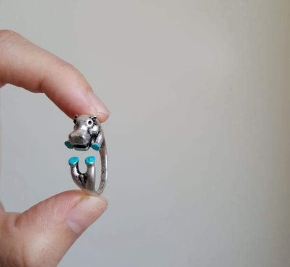 Hippo ring, Custom Colored Animal Wrap ring,Gift