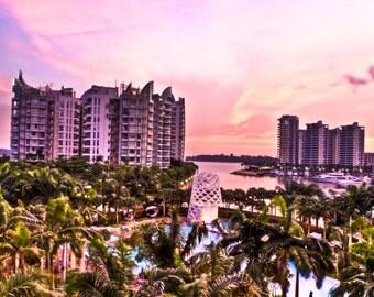 Sunset Sentosa Singapore Framed and Mounted Print