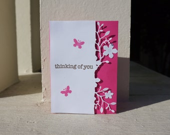 Thinking of You Greeting Card//Flowers//Butterflies//Pink