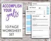 Printable Goals Worksheet Set - Yearly Goals, Monthly Goals, Daily Tasks, Future Goals, Brainstorming