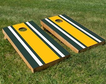 Classic Stripe - Green, White, Yellow Cornhole Board Set