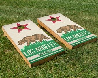 Los Angeles State Flag Skyline Cornhole Board Set