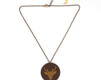 """Necklace leather """"bichette"""" caramel and Brown hand made"""