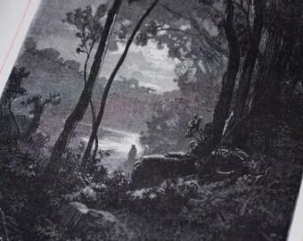 Distant figure in landscape, 1879, 1st edition, antique, wood print