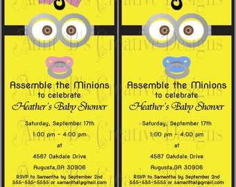 Exceptional Minion Baby Shower Invitation Etsy, Baby Shower Invitations