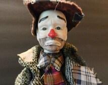 EMMETT KELLY, Jr. Clown Doll Vintage Porcelain and Stuffing Hobo Shabby Emmett