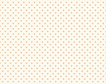 Riley Blake La Creme Basics Swiss Dots Cream/Orange - Fabric by the Yard