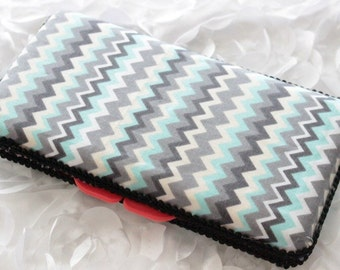 Gray and Teal Zig Zag With Black Trim Travel Wipes Case