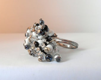 Black and white spider ring