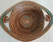 Pine Needle Basket - Natural and Blue Coiled Pine Needles with Black Walnuts - Hand stitched organic recycle Bowl - Made in FL USA - 60.00