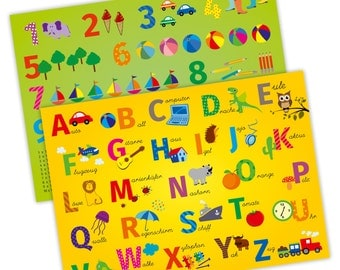 Placemat with learning effect for children - 2 in 1 - ABC & 1 x 1 * nikima *.