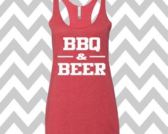 BBQ and Beer Tank Top Football Season Tank Top BBQ & Beer Fourth of July Patriotic Tee Stars and Stripes Drinking Tank Top