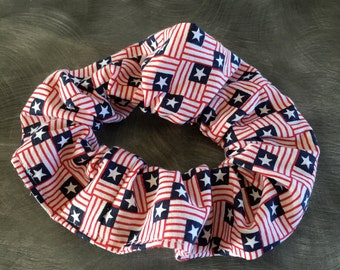 Patriotic hair scrunchie stars and stripes