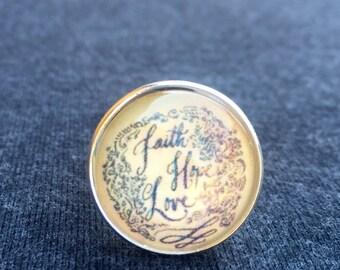 Faith, Hope, Love Adjustable Ring