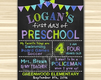 First Day Of  Preschool Sign Printable. First Day Of School Sign Printable. First Day Of Kindergarten Sign. Graduation Chalkboard Sign.