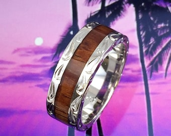 Sterling Silver Hawaiian Koa Wood Men's Eternity 7mm Ring (R566)