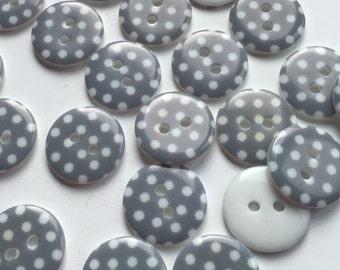 Grey spotty buttons, polka dot buttons, grey dotty buttons, 18mm buttons, pack of 10, grey buttons, round buttons, craft buttons, BUT140