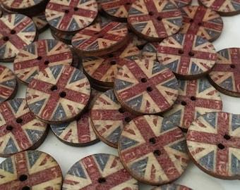 Union jack button, union jack wooden buttons, wooden buttons, pack of 10, 20mm buttons, vintage clock, vintage union jack, 2 holes, round