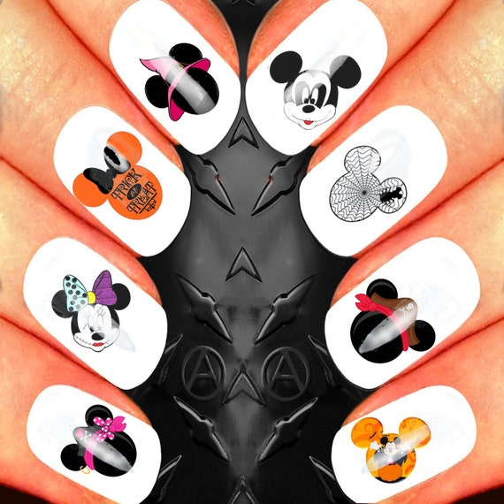 Mickey and minnie mouse heads halloween scary disney nail art mickey and minnie mouse heads halloween scary disney nail art waterslide decals nail design set from greenteamstudio on etsy studio prinsesfo Images