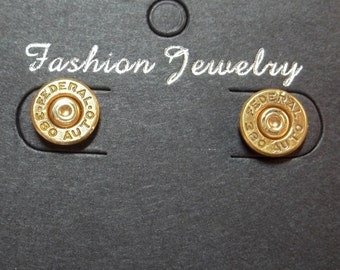 Bullet Jewelry- 380 Caliber Brass Bullet Stud Earrings