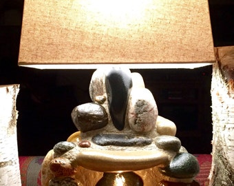 Rustic stone fireplace lamp-made to order per your custom specs
