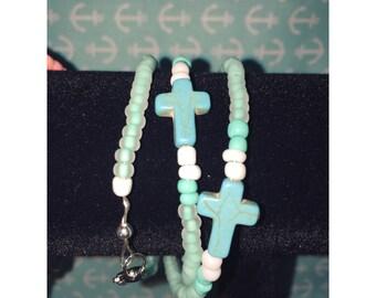 Turquoise Cross Wrap Bracelet.