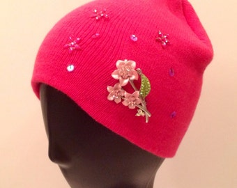 Bright pink decorated bedazzled beanie