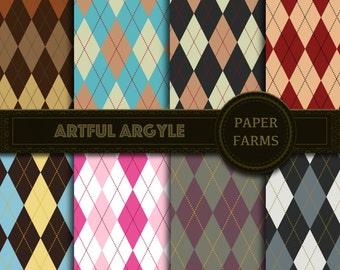 Argyle digital paper, Sweater digital paper, scrapbooking, instant download, argyle patterns, invites, backdrops