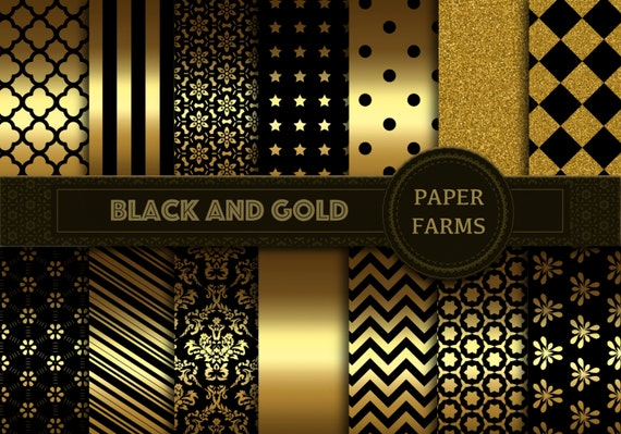 Black And Gold Digital Paper Black And Gold Scrapbook Paper
