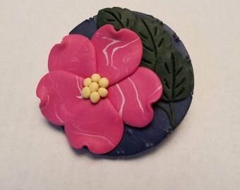 Handmade Clay Pin - Pink Flower