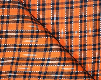 Orange and Black Ikat Fabric by the Yard