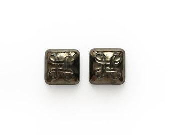 Ceramic Celtic Square Small Metallic Cabochon 2 pieces