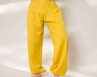 Pants S M L XXL mustard-yellow cotton harem pants