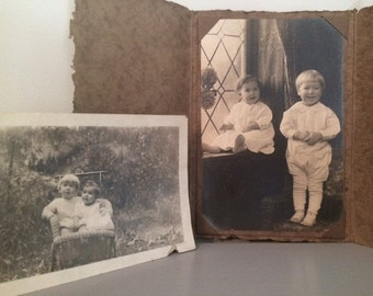 Victorian Cabinet Card and Photograph of 2 children, Vintage Photos