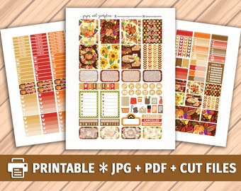 THANKSGIVING Printable Planner Stickers/for use with Erin Condren/Weekly Kit/Silhouette Cutfiles/Autumn Stickers/Turkey Glitter Stickers