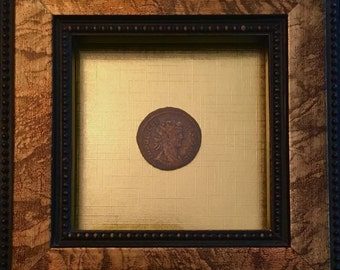 Emperor Diocletian Coin In Frame W/ Gold Leaf Background