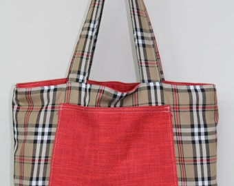 Red Woven/Beige Check Fully Reversible Bag