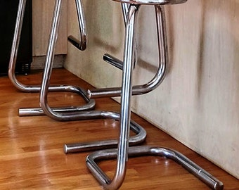 Mid Century Modern Chrome Bar Stools